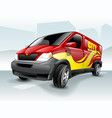 cartoon delivery van with abstract background vector image