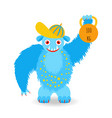 cartoon fluffy blue monster in a cap vector image