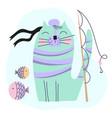 cat fisher cartoon funny set vector image