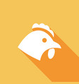 chicken icon with a long shadow vector image vector image