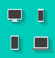Computer devices icons with lap-top mobile vector image