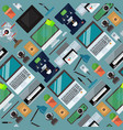 computer office equipment seamless pattern laptop vector image
