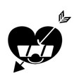 contour happy heart with arrow kawaii and vector image vector image