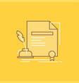 contract paper document agreement award flat line vector image