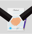 contracting with handshakes grey background vector image vector image