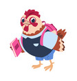 cute cartoon chicken with book and backpack vector image vector image