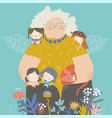 cute cartoon grandmother hugging their vector image vector image