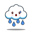 cute cloud rain kawaii face icon cartoon character vector image vector image