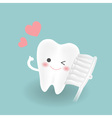 cute smiley white tooth feels confindent while vector image vector image