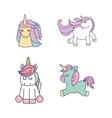 drawing cute set unicorns icon vector image vector image