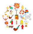 fire icons set cartoon style vector image vector image