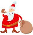 funny santa claus cartoon character with sack of vector image vector image
