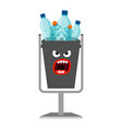 garbage can with plastic trash vector image vector image