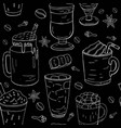 hand drawn different coffee pattern vector image vector image