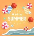 hello summer tropical beach top view banner vector image vector image