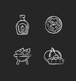 homemade food chalk white icons set on black vector image