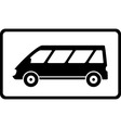 icon with black mini bus silhouette vector image vector image