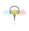 Isolated cartoon light bulb listening music with h vector image vector image