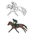 jockey on horse sketch doodle hand vector image