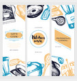 kitchen ware - color drawn banner template vector image vector image