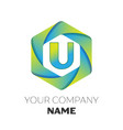 letter u logo symbol on colorful hexagonal vector image vector image