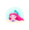 little cute mermaid lie on the seabed underwater vector image