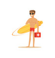 male lifeguard in red shorts with surfboard and vector image vector image