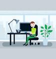 man sitting office working desk lunch break asian vector image vector image