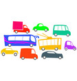 many different cars in a traffic jam vector image