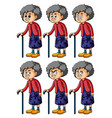 old woman with different emotions vector image vector image