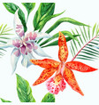orange and white orchid palm leaves watercolor vector image vector image