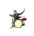 retro drummer behind the kit vector image