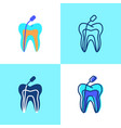 root canal treatment icon set in flat and line vector image vector image