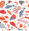 seafood restaurant seamless pattern vector image vector image