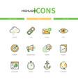 seo - modern line design style icons set vector image