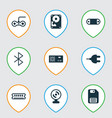 set of 9 computer hardware icons includes vector image vector image