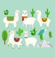 set of cute funny alpacas and vector image