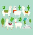 set of cute funny alpacas vector image