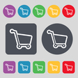 Shopping cart icon sign A set of 12 colored vector image vector image