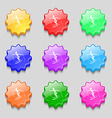 Skier icon sign symbol on nine wavy colourful vector image vector image
