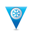 snowflake icon on blue triangular map pointer vector image vector image