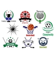 Sports emblems and logo with heraldry design vector image vector image