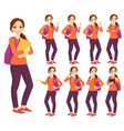 student witn backpack set vector image vector image