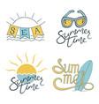 summer set logo design for banner poster vector image