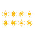 sun icon cartoon simple flat design elements vector image vector image