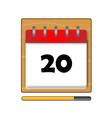 The Twentieth day calendar vector image