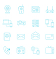 Thin lines icon set - communication devices vector image vector image