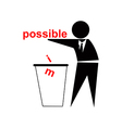 Throwing away im from possible business success vector image