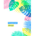 tropical flowers and palms summer background with vector image vector image