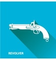 vintage pistol gun icon on blue vector image
